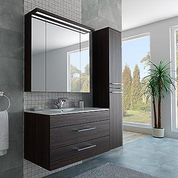 Badezimmer Möbel Set mit Waschbecken Spiegel und Hochschrank in ...