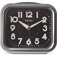 "Seiko 4"" Traditional Square Bell Alarm With Snooze and Dial Light"