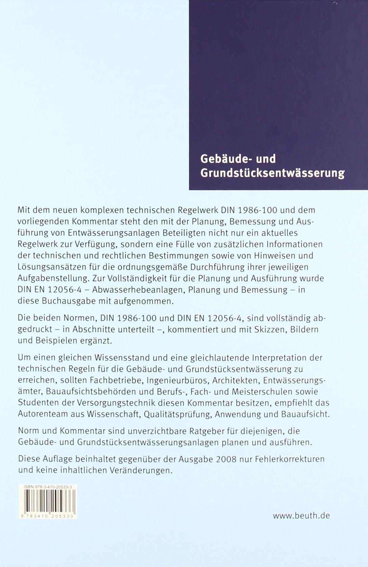 Gebäude- und Grundstücksentwässerung: Planung und Ausführung DIN ...