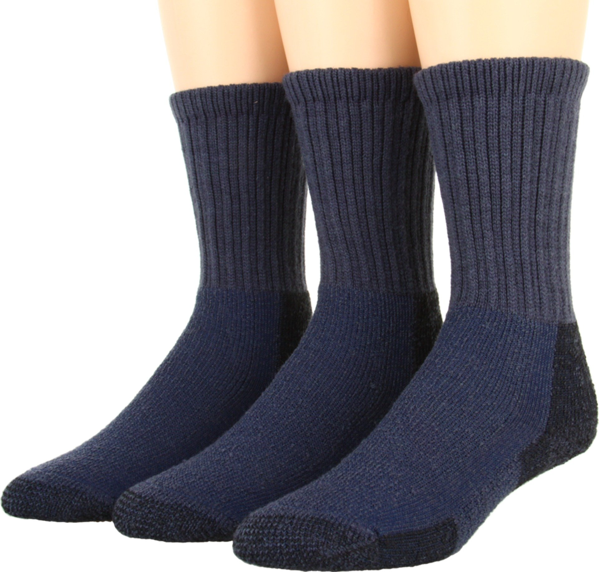 Thorlos Unisex Thick Cushion Hiking Wool Blend 3-Pack Dark Blue Large by thorlos
