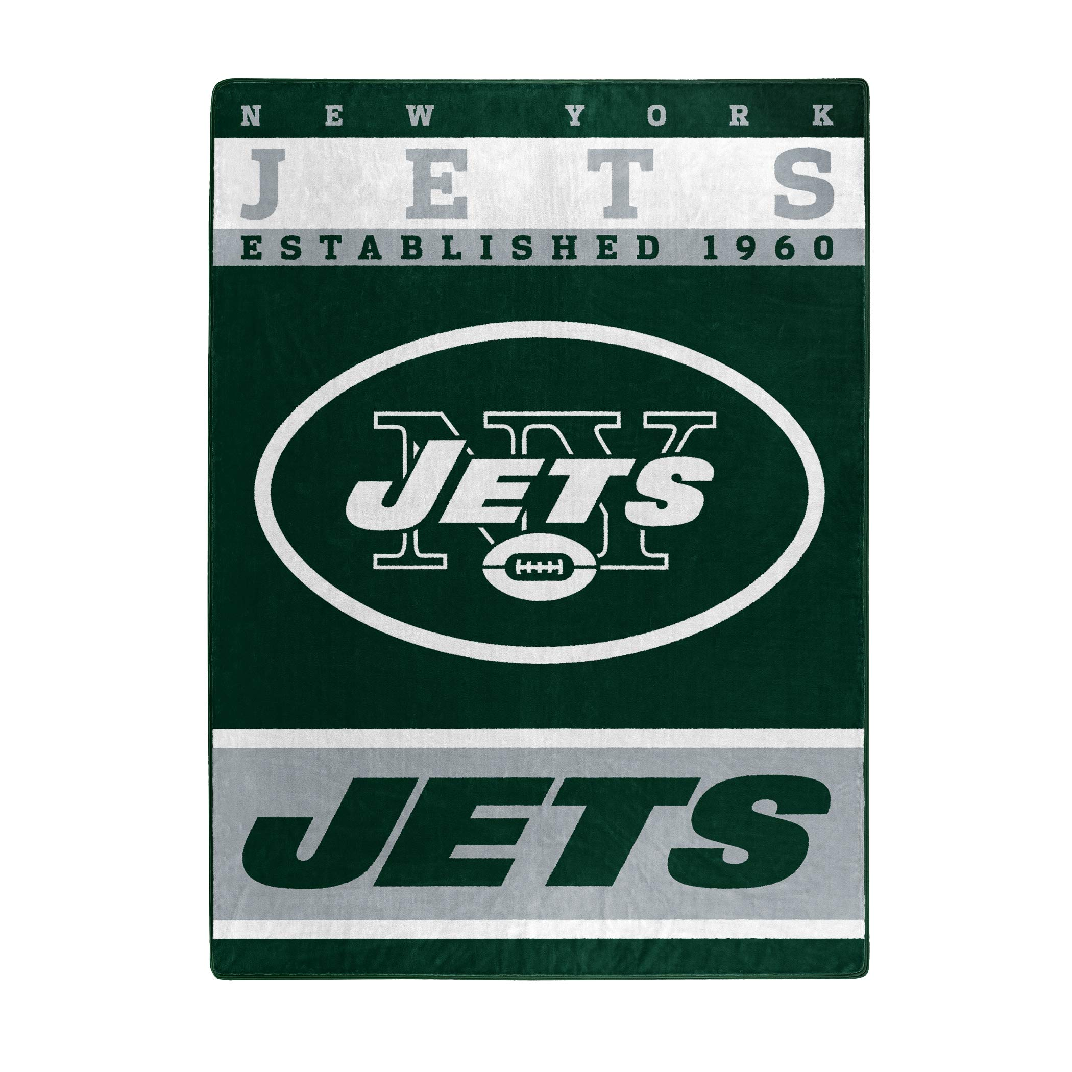 The Northwest Company Officially Licensed NFL New York Jets 12th Man Plush Raschel Throw Blanket, 60'' x 80'', Multi Color by The Northwest Company
