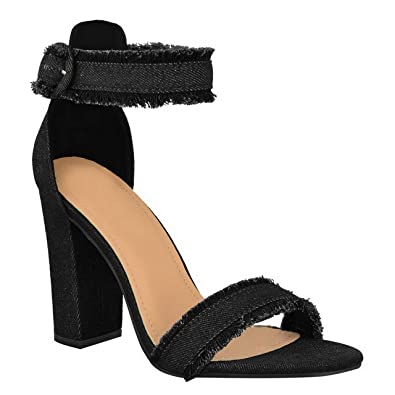 ab9aa9d8ba87 Womens Ladies Block Heel Barely There Ankle Strap Party Denim Sandals Shoes  Size  Black Denim