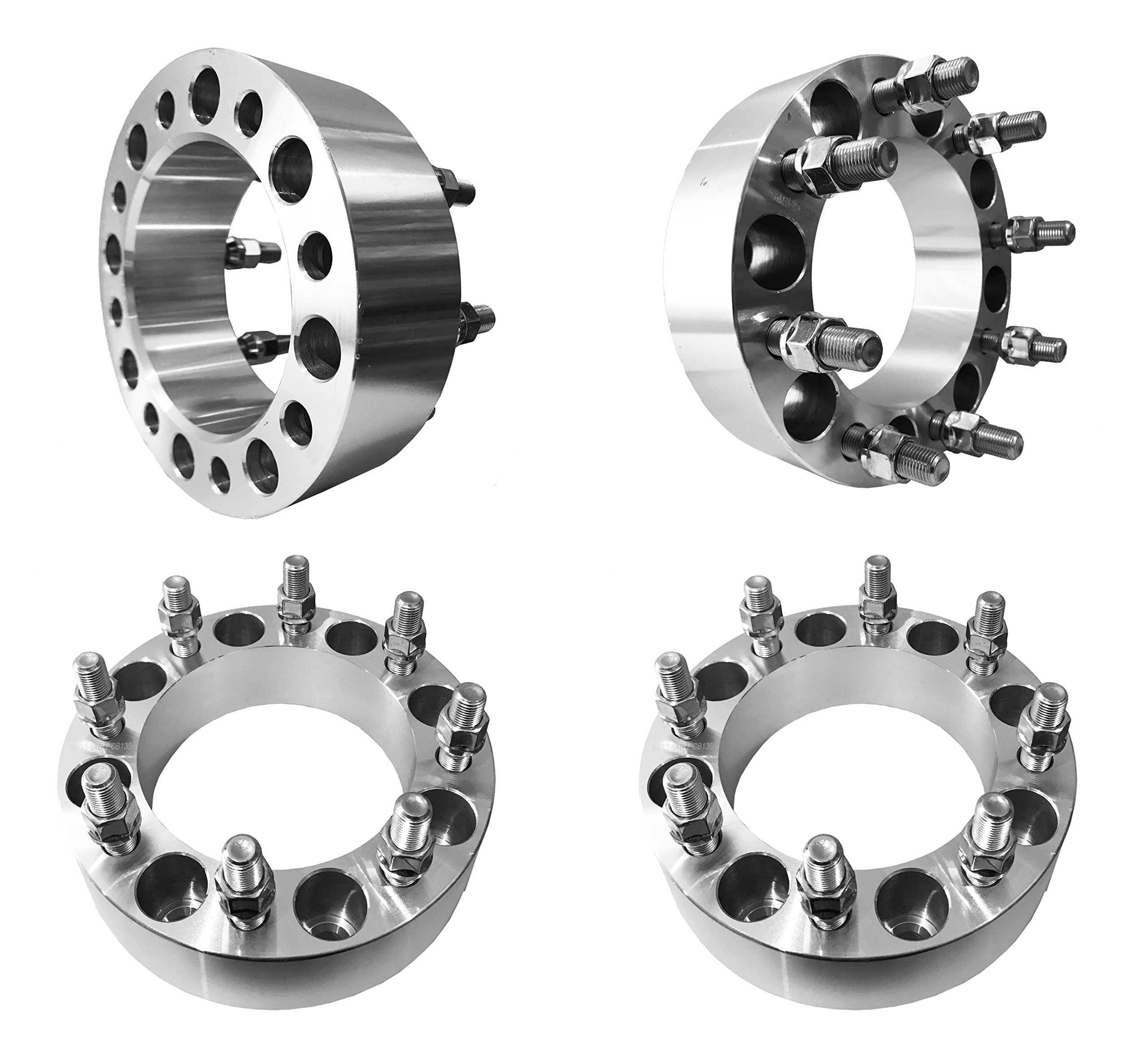 2'' Inch 8 Lug Wheel Spacers 8x6.5 (8x165.1mm) For 2000-2010 Chevy Silverado 2500HD (50mm) Wheel Spacers 8x6.5'' (8x165.1mm) with M14x1.5 Studs (Silver) (4-Pcs)