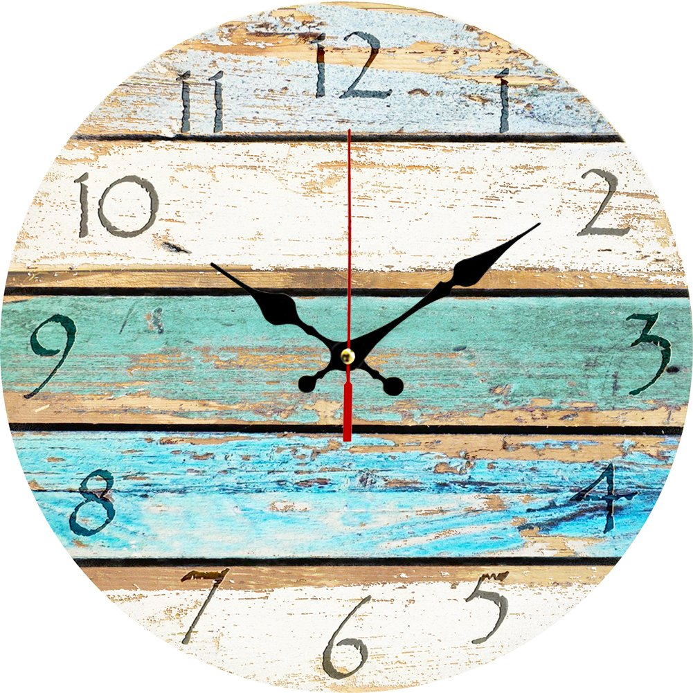 Amazon grazing 12 vintage arabic numerals shabby beach beach weathered beachy boards design ocean colors old paint boards printed image rustic mediterranean style wooden decorative round wall clock sky amipublicfo Images