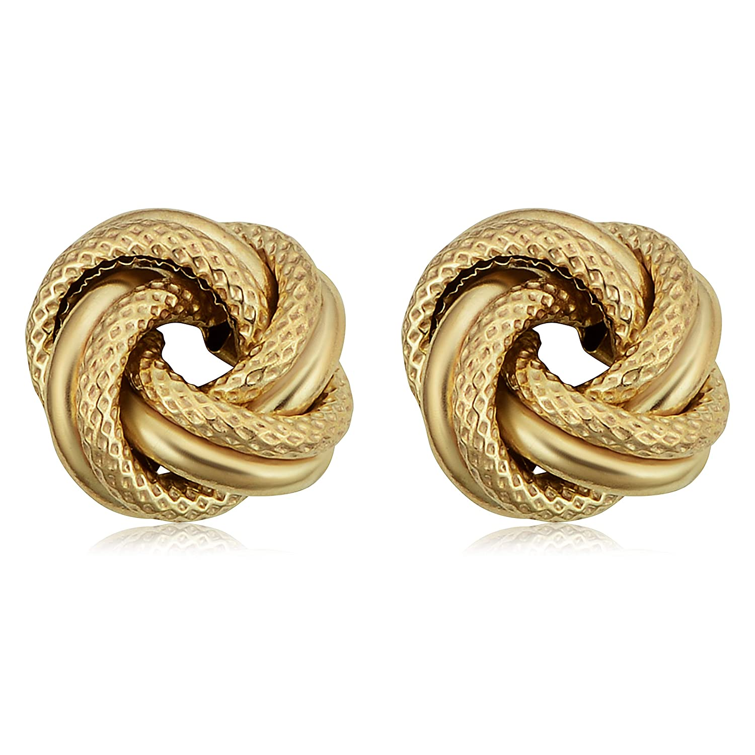c5840781f9192 10k Yellow Gold Textured Love Knot Stud Earrings