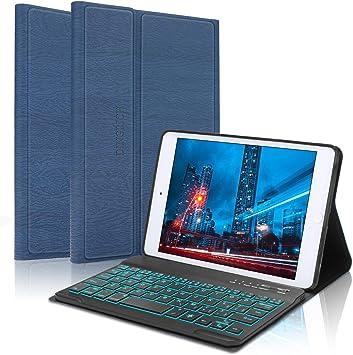 Oferta amazon: Funda de teclado para iPad Mini 5, Mini 4, Mini 3, Mini 2, Mini 1, Bluetooth desmontable inalámbrico, 7 colores retroiluminados, Smart Folio Funda de cuero (B: Azul con retroiluminado)