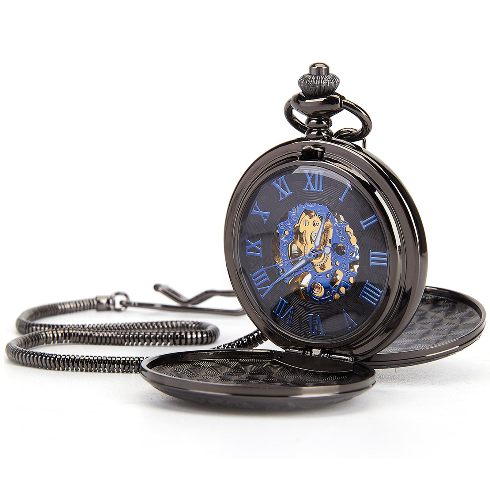 Retro Mens Black Half Double Hunter Skeleton Mechanical Roman Numerals Pocket Watch with Chain Gift (Golden)