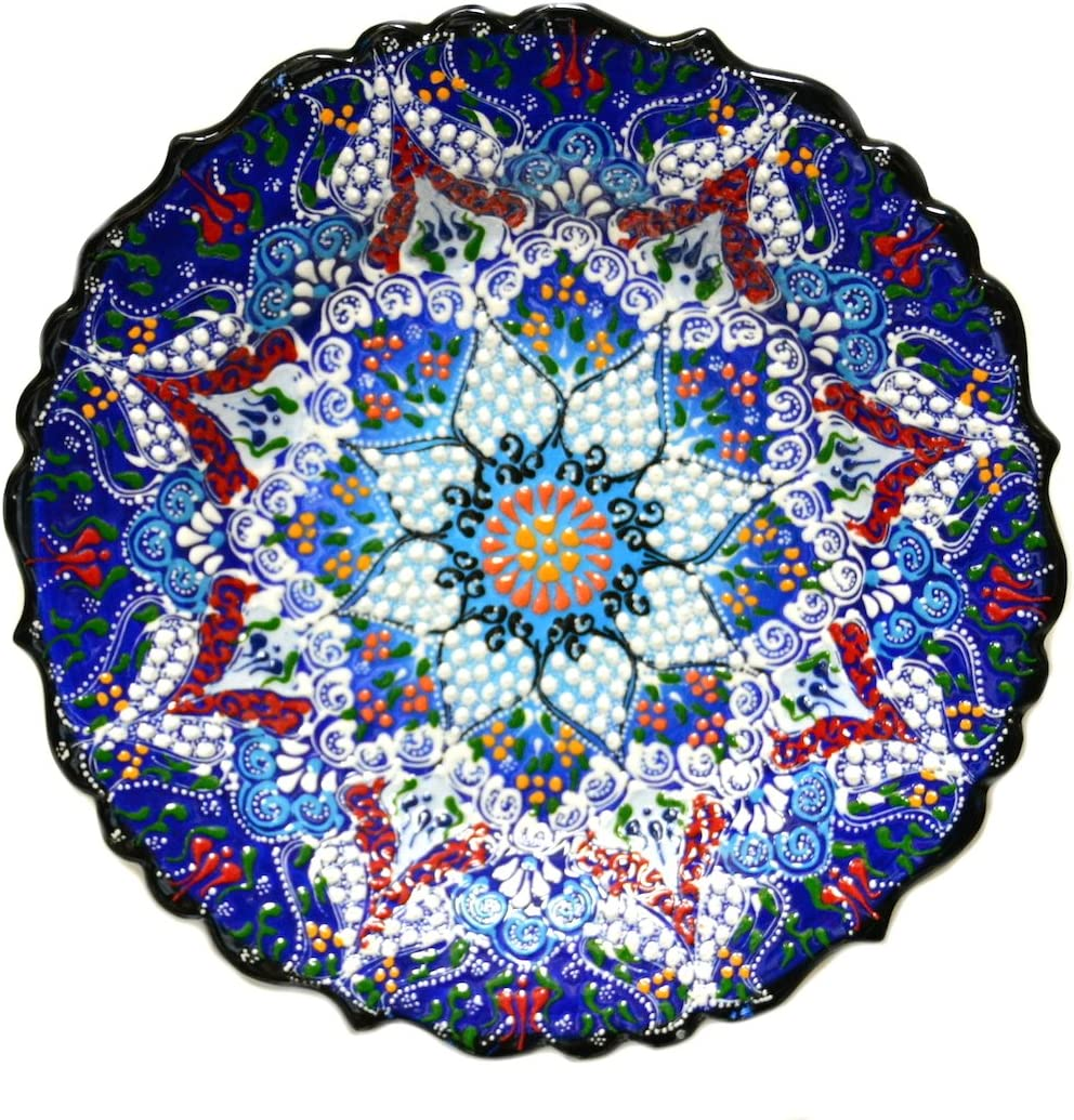Nazar Turkish Imports ~Ceramic Plate~10 inch-25cm-navy