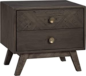 "Amazon Brand - Stone & Beam Modern Farmhouse Solid Wood Nightstand with 2 Drawers, 25.5""W, Charcoal Gray"