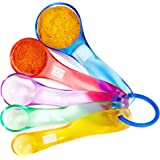 Andrew James Measuring Spoons 5 Piece Set in Colourful Plastic for Accurate Baking - Plastic Measuring Set Shows ML & UK Spoon Sizes ¼ Teaspoon to 1 Tablespoon