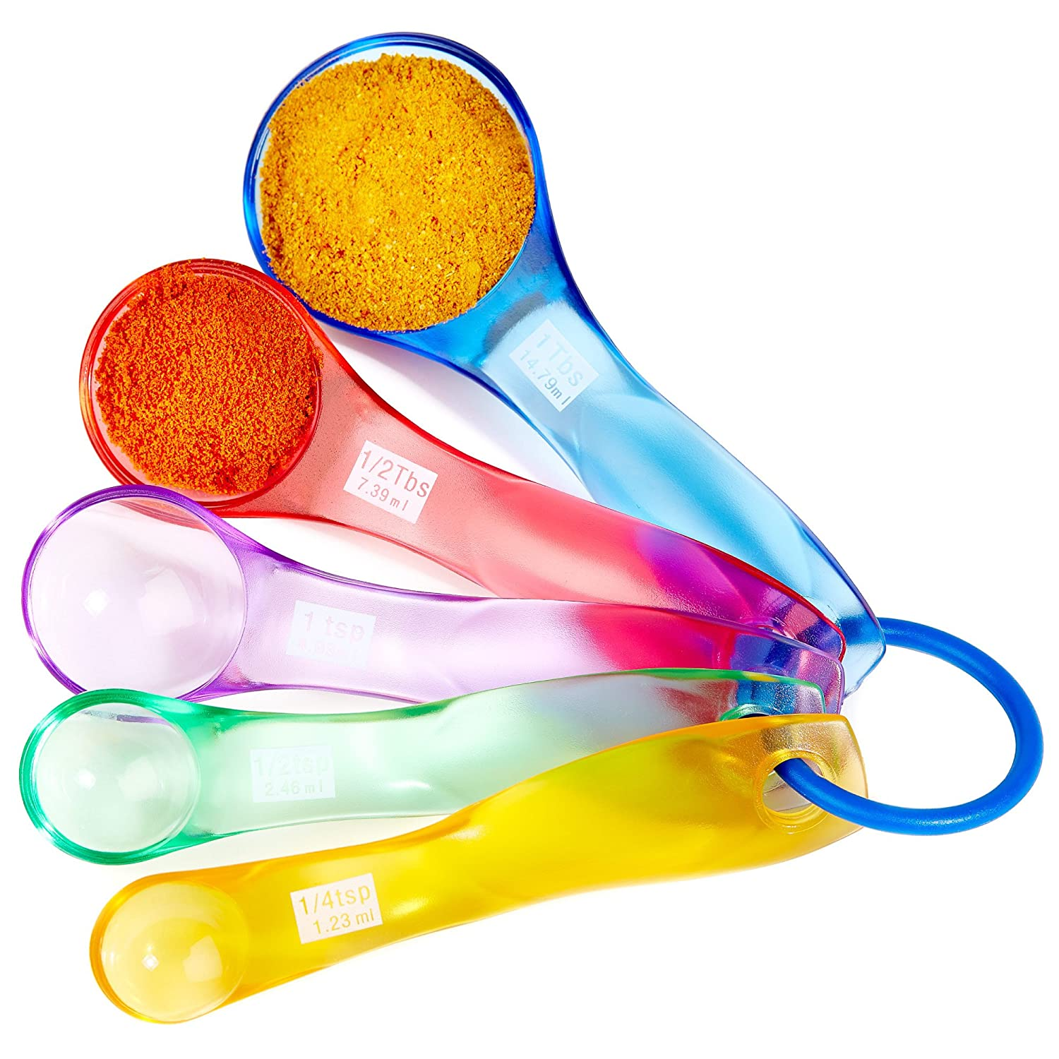 Andrew James Measuring Spoons | 5 Piece Colourful Plastic Spoon Set | ML and UK Spoon Sizes ¼ Tsp to 1Tbsp