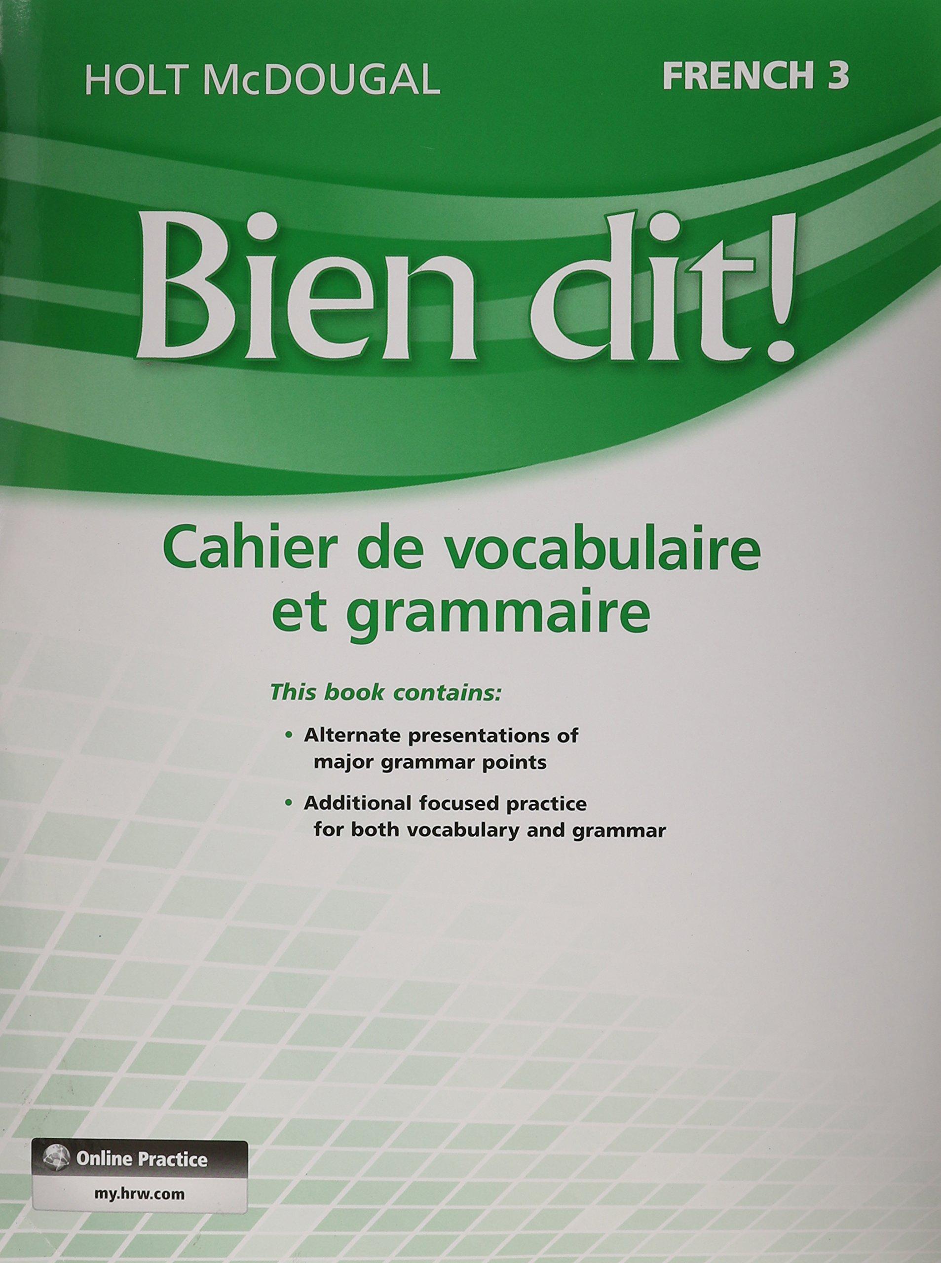 Bien Dit Vocabulary And Grammar Workbook Student Edition Level 3