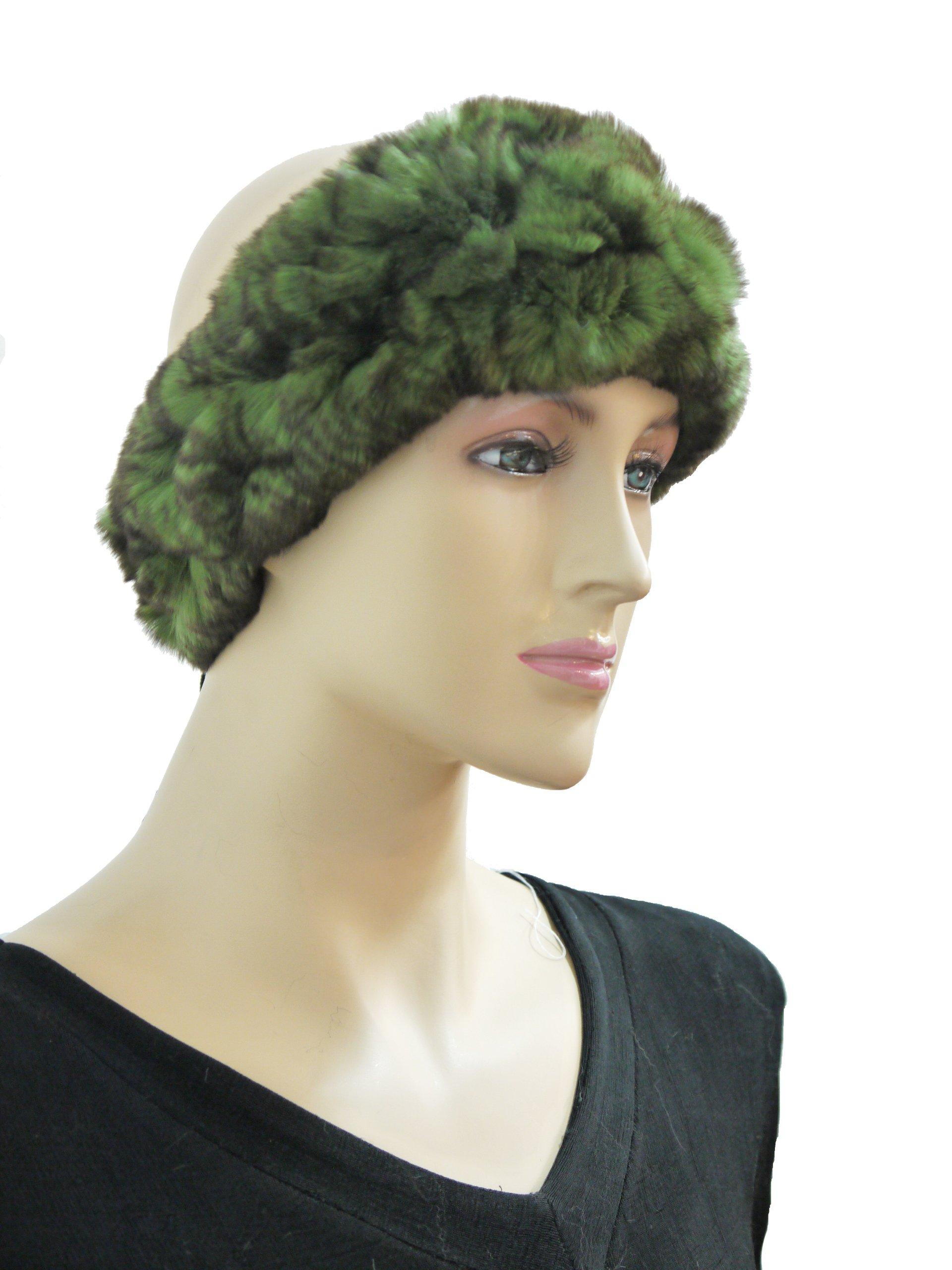 100% Rex Rabbit Fur Headband - Green Frosted