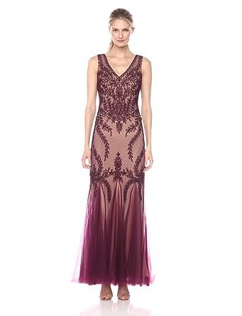 69a41d60673 Amazon.com  Cachet Women s V Neck Mesh Gown  Clothing