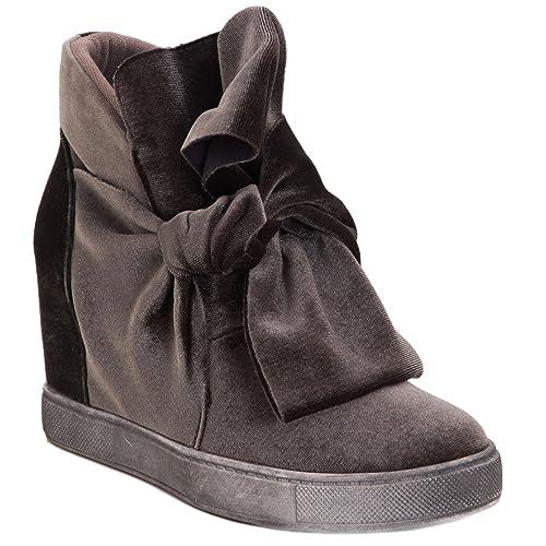 Toocool - Scarpe donna stivaletti fiocco velluto sneakers zeppa interna  nuove YX8363-65  40 2a23182be78