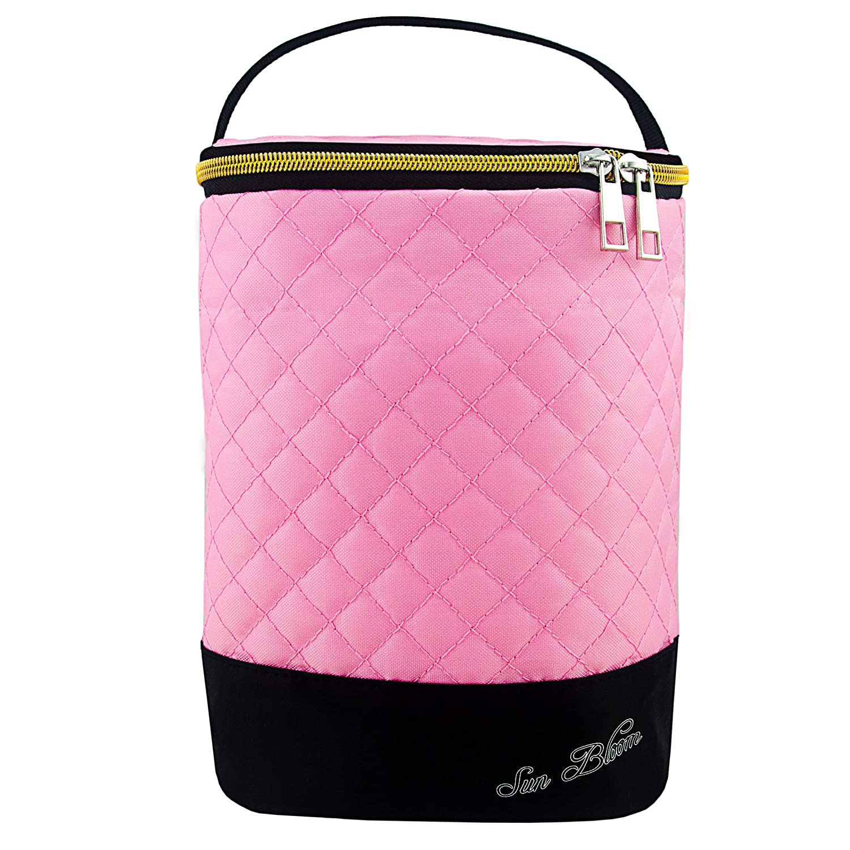Sun Bloom Insulated Baby Bottle Breast Milk Storage Cooler Bag (Pink, 2 Bottles)