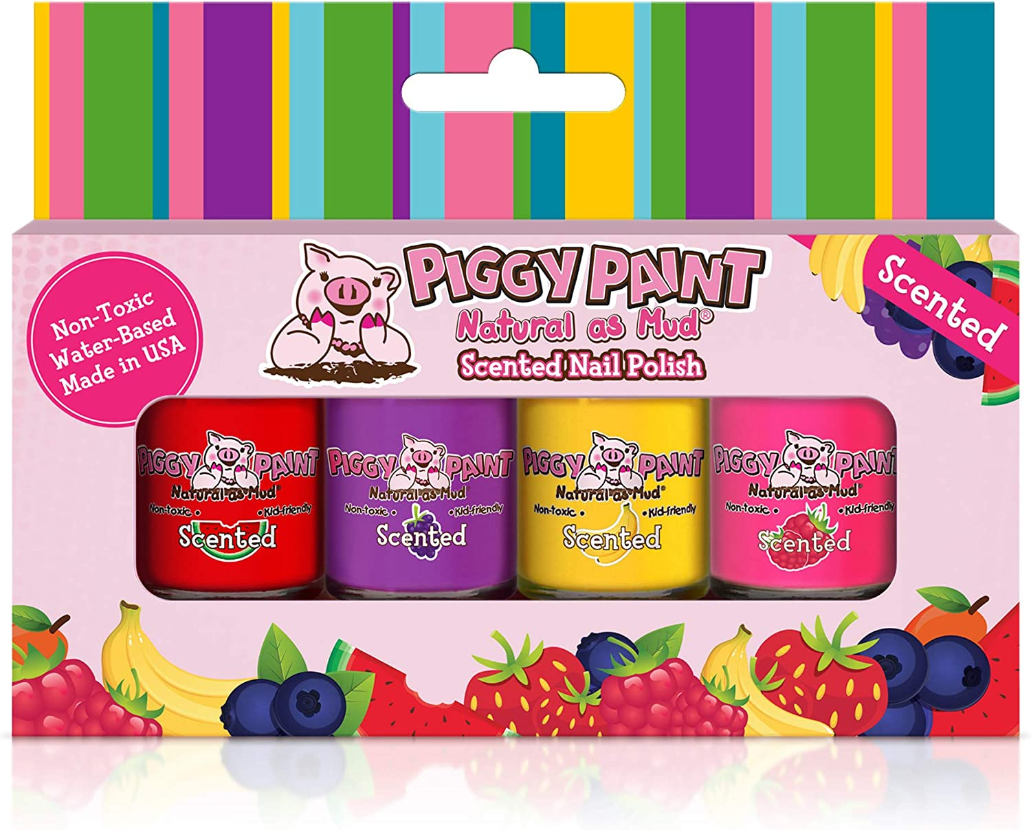 Piggy Paint Scented 100% Non-Toxic Girls Nail Polish - Safe, Chemical Free Low Odor for Kids, 4 Pack Kit (Scented Silly Unicorns)