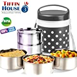 BMS Royal Hot Meal 3-Container Stainless Steel Insulated Lunch Carrier/Box/Tiffin