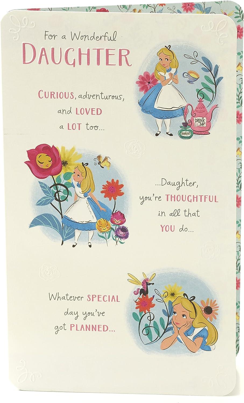 Daughter Birthday Card - Alice in Wonderland Birthday Card for Daughter,  Gift for Daughter, Ideal Gift Card for Her - Disney