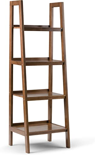Simpli Home Sawhorse SOLID WOOD 72 inch x 24 inch Modern Industrial Ladder Shelf