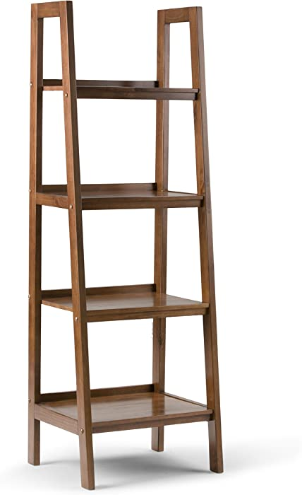 Simpli Home Sawhorse SOLID WOOD 72 inch x 24 inch Modern Industrial Ladder Shelf in Medium Saddle Brown with 4 Shelves, for the Living Room, Study and Office