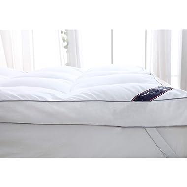 QUEEN ROSE Mattress Topper Queen, Plush Pillow Top Mattress Pad,Hotel Quality Hypoallergenic Down Alternative,Ultra Soft and Firm,3  H