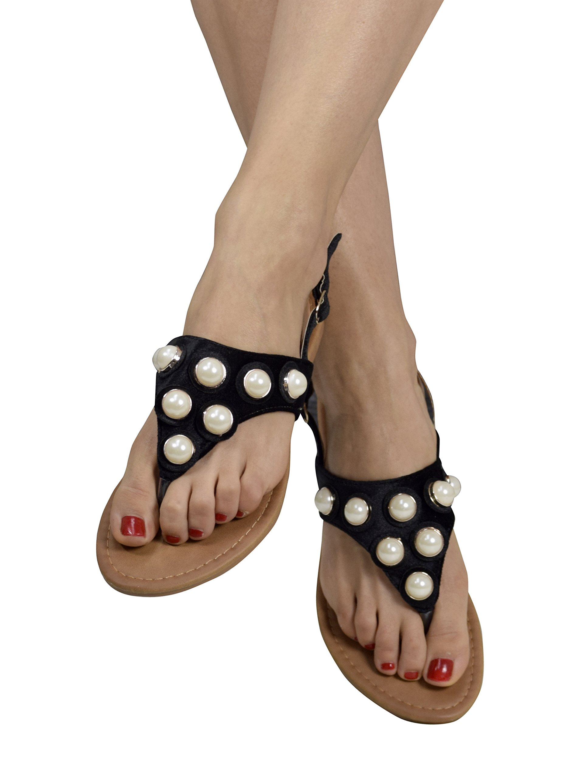 Peach Couture Womens Pearl Studded Back Strap Sandals Flip Flops Black 8 B(M) US