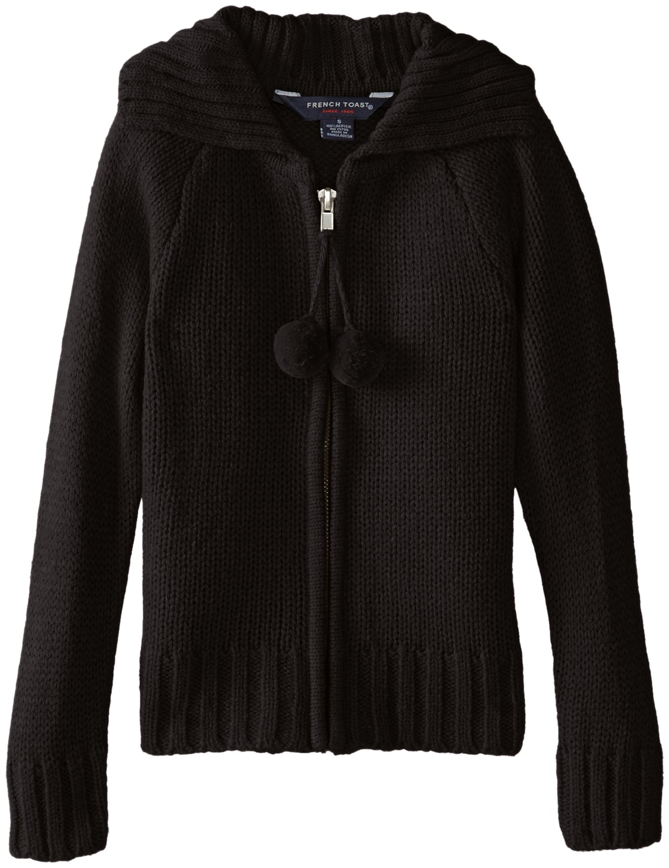 French Toast Little Girls' Pom Pom Zip Front Cardigan, School Black, 6X