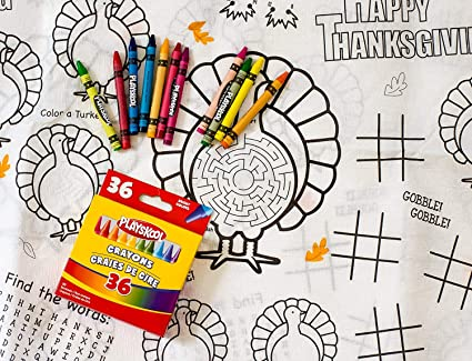 Amazon.com: Kids\' Coloring and Activity Thanksgiving Tablecloth ...