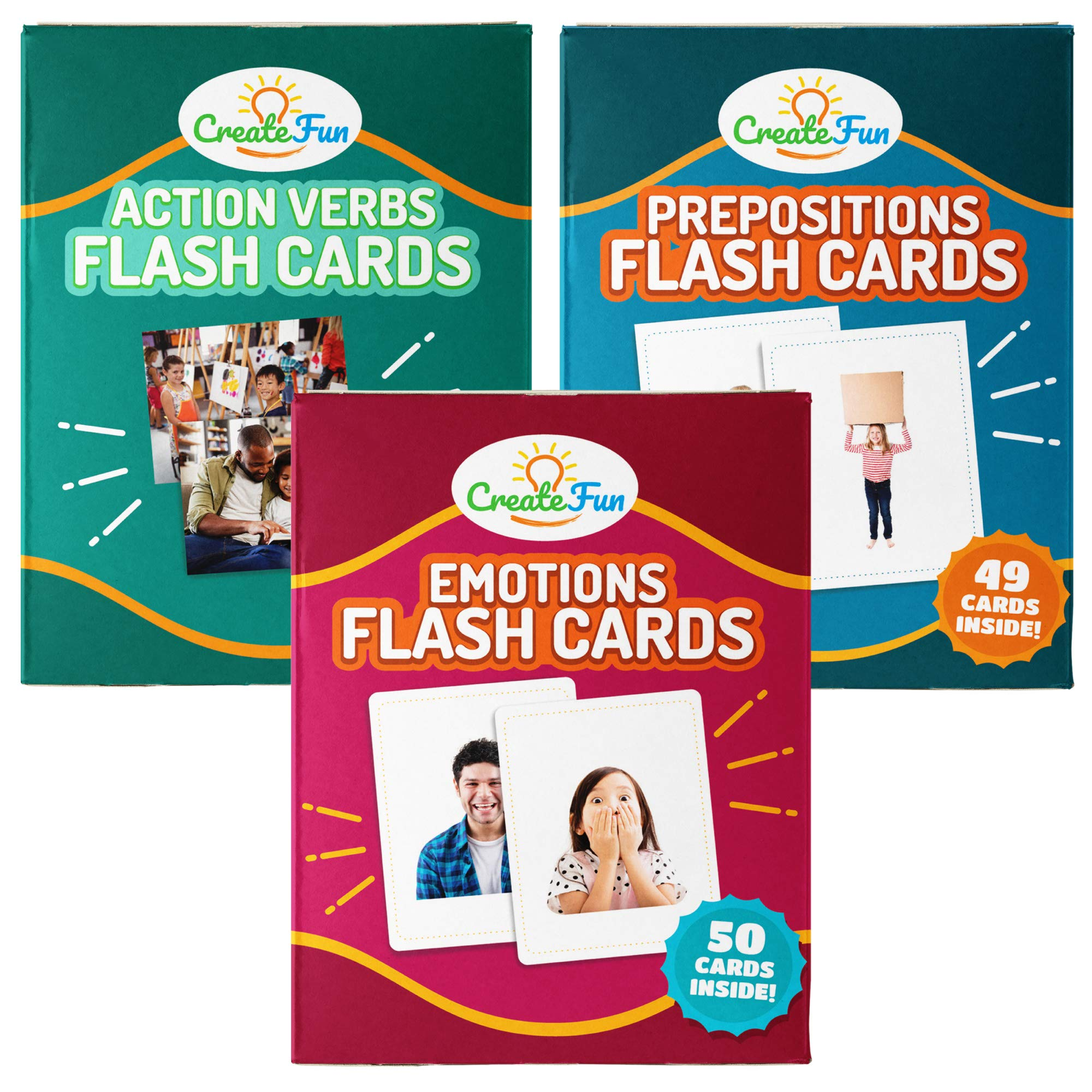 Prepositions, Emotions & Verbs Flash Cards Gift Set - 149 Educational Photo Cards with Learning Games - for Toddler, Preschool Prep, Adults, Speech Therapy Materials and ESL Teaching Materials by CreateFun