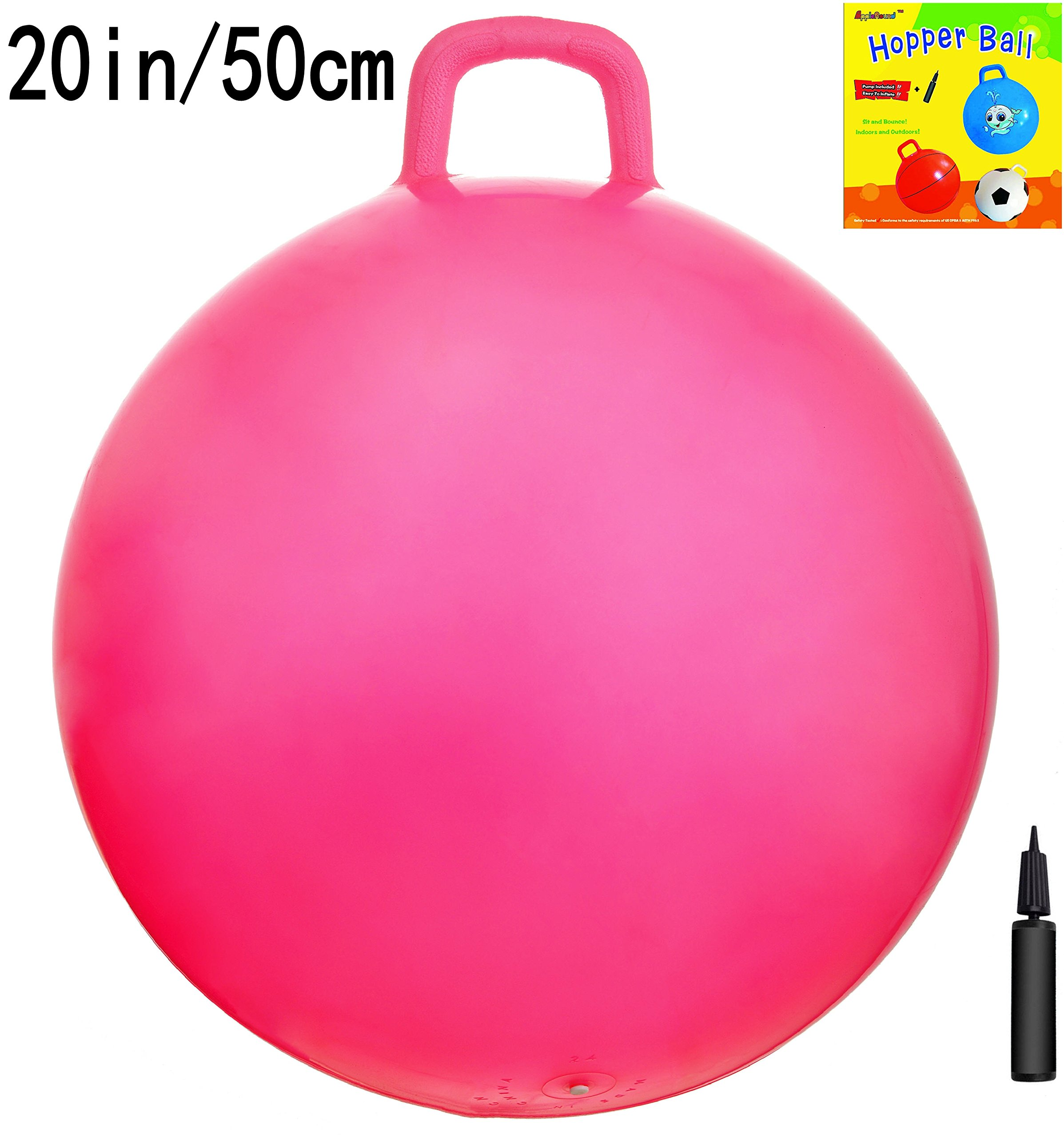 AppleRound Space Hopper Ball with Air Pump: 20in/50cm Diameter for Ages 7-9, Hop Ball, Kangaroo Bouncer, Hoppity Hop, Jumping Ball, Sit & Bounce