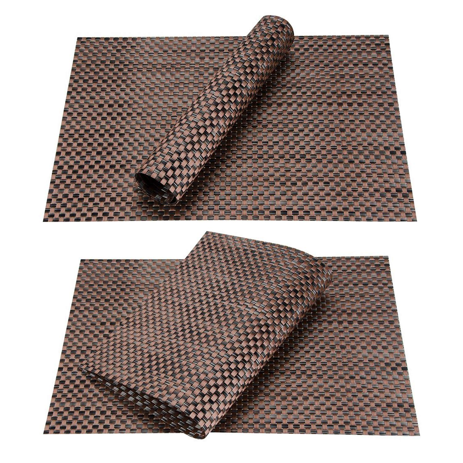 Top Finel Table Mats Sets Crossweave PVC Washable Stain Resistant Durable Dining Table Outdoor,Brown,Set of 8 by Top Finel (Image #6)