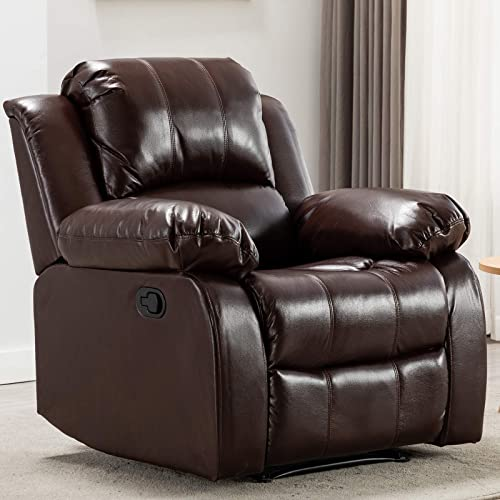 ANJ HOME Recliner Chair Overstuffed Manual Heavy Duty Single Sofa, Home Theater Seating, Brown