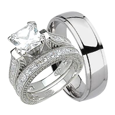Amazon Com His And Hers Wedding Ring Set Matching Trio Wedding