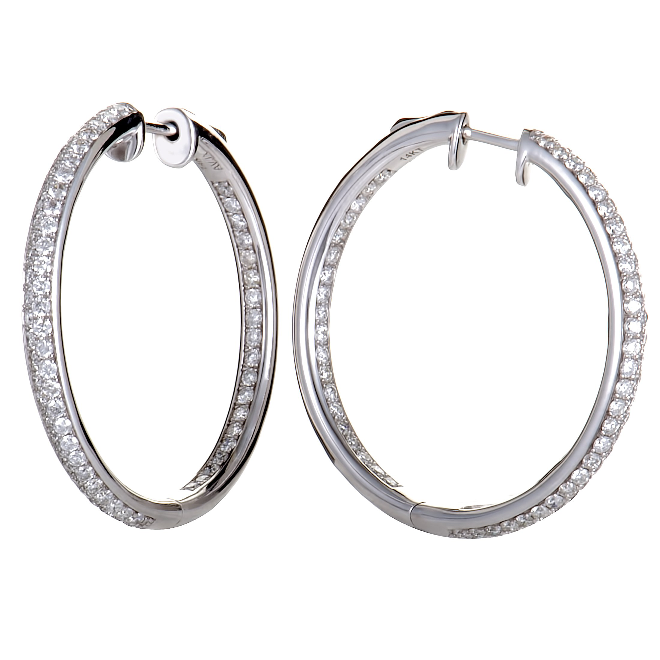 1.0 Carat (ctw) Round Diamond Pave Hoop Earrings in 14K White Gold; 1 CT White Diamonds (G Color, SI1-SI2 Clarity) in 1.25'' Hoops