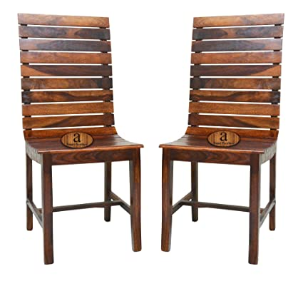 Angel Furniture Frazer Stripped Sheesham Rosewood Dining Chair In Honey Finish Set Of 2