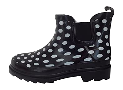 b92f0375048e Starbay Women s Short Ankle Polka Dot Rubber Rain Boots Size 6