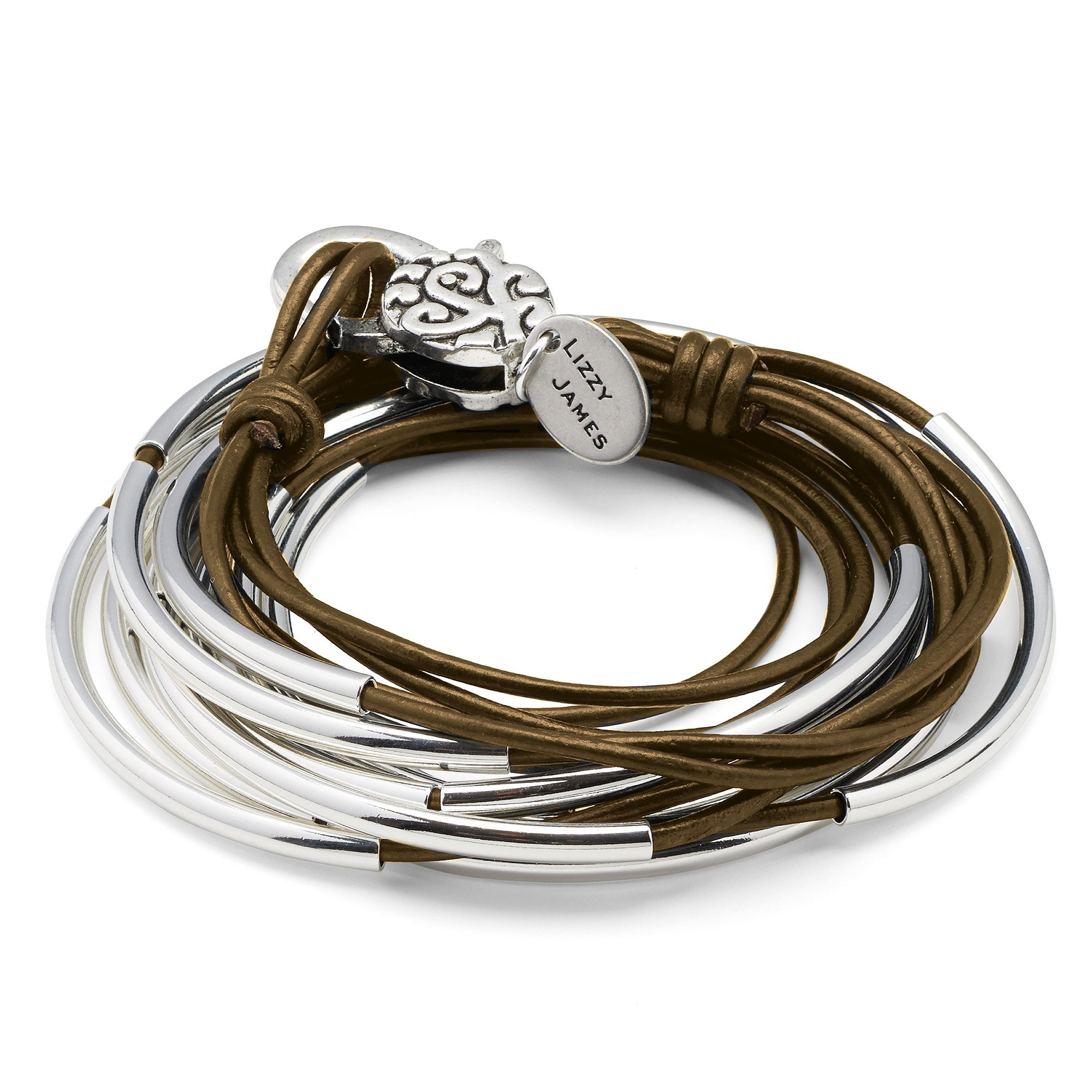 Lizzy Classic Metallic Bronze Leather and Silver Wrap Bracelet Necklace (MEDIUM) by Lizzy James