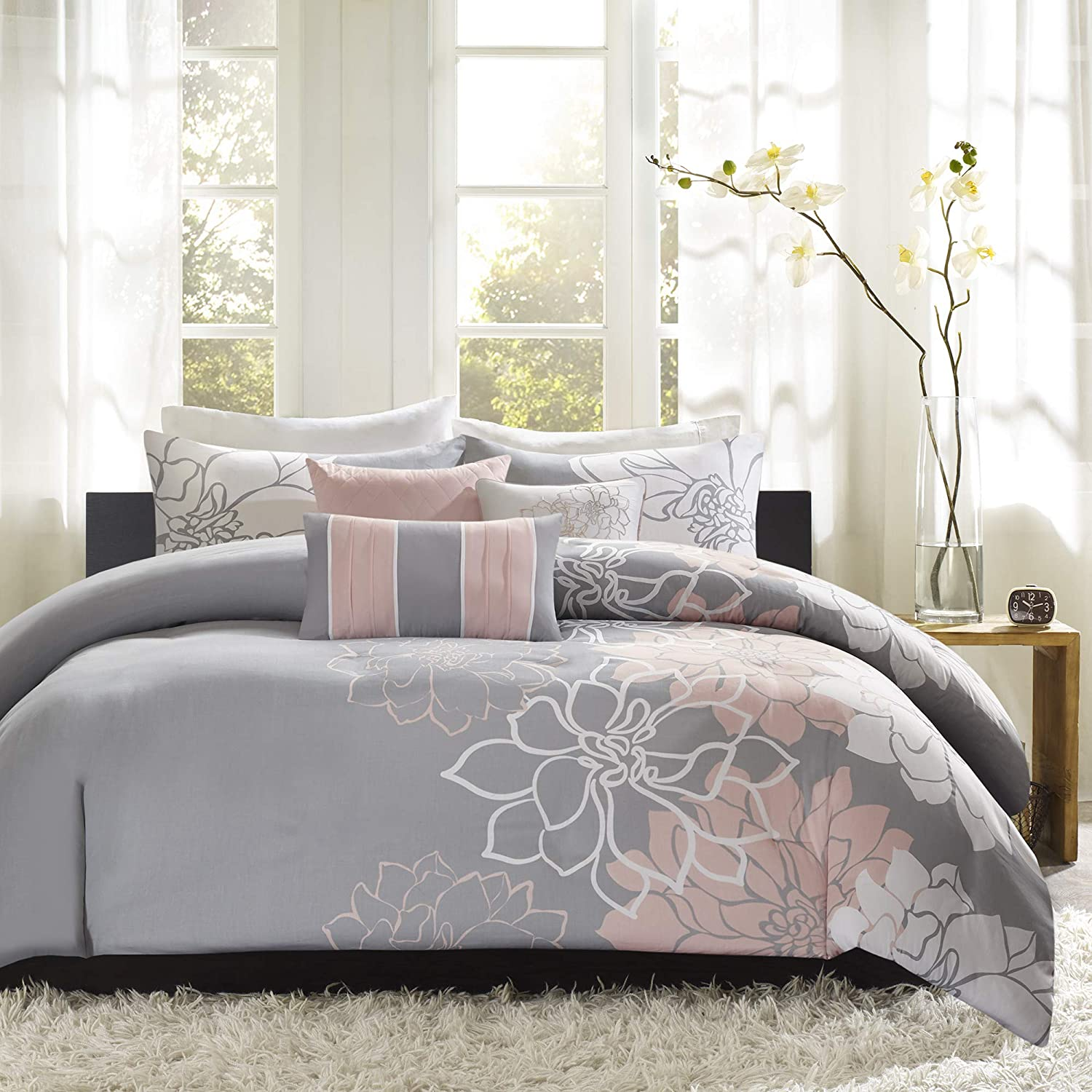 """Madison Park Lola Cotton Duvet-Modern Large Floral Trendy Design All Season Comforter Cover Bedding Set with Matching Shams, Decorative Pillows, Full/Queen(90""""x90""""), Grey/Blush, 6 Piece"""