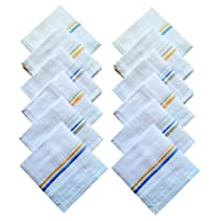Indiacrafts Men's Cotton Handkerchiefs (White, 42x42cm) - Set of 12 Piece