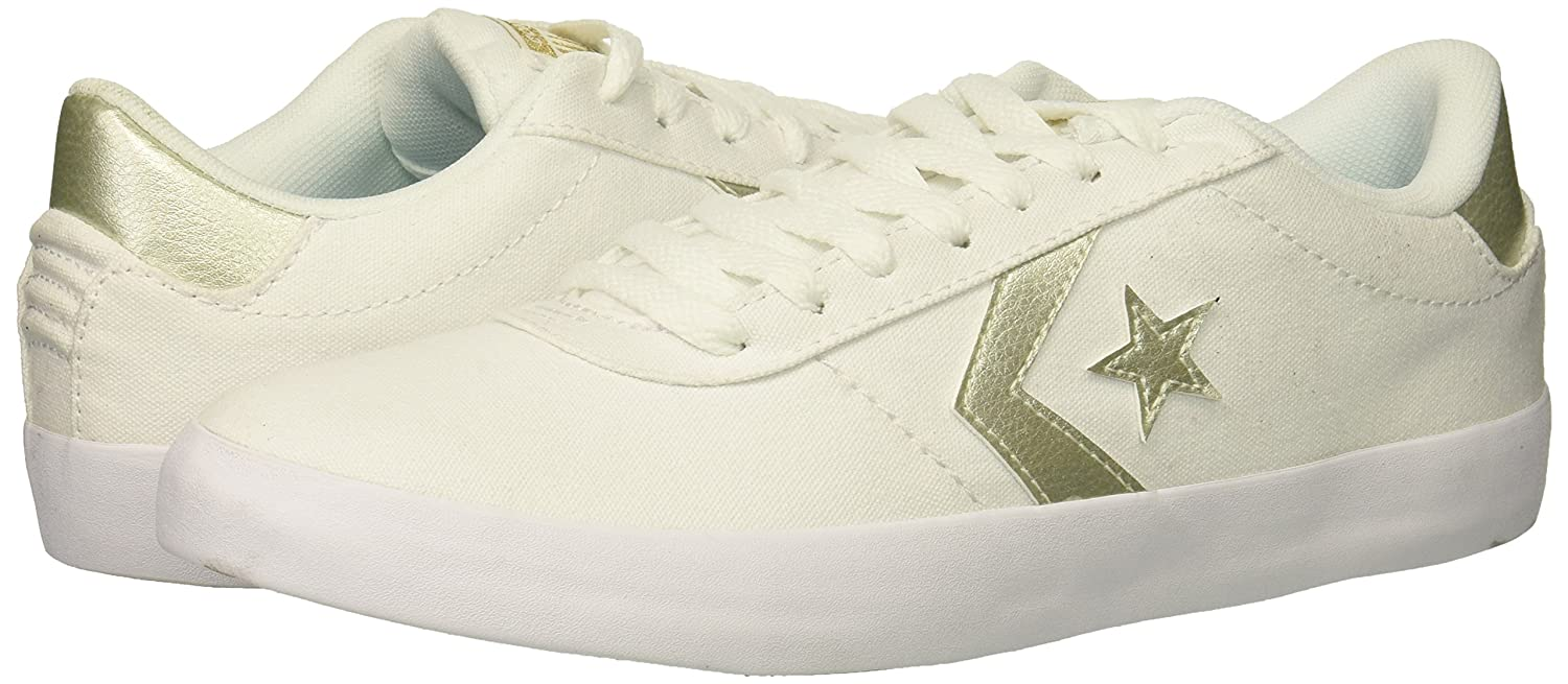 Converse Women's Sneaker Point Star Low Top Sneaker Women's B07CR9J6XJ 10 B(M) US|White/White/Gold c95ce4