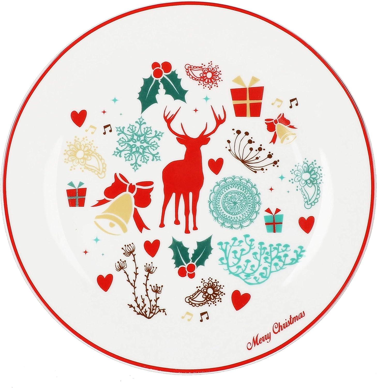 MamboCat Hirsch Geb/äckteller auf Fu/ß I Geb/äckteller Weihnachten I Pl/ätzchenteller mit weihnachtlichem Motiv I Tortenst/änder aus Porzellan I Tortenplatte mit Fu/ß I Weihnachtsgeschirr
