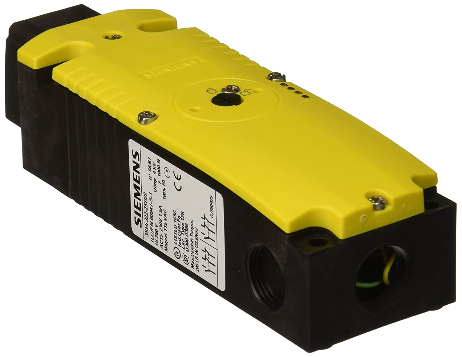Yellow//Green LEDs 54mm Plastic Enclosure Escape Release From the Back 230VAC Rated Operational Voltage 3SE53223SG23 1300N Locking Force Siemens 3SE5 322-3SG23 Interlock Switch Auxiliary Release From The Front Spring Actuated Locks