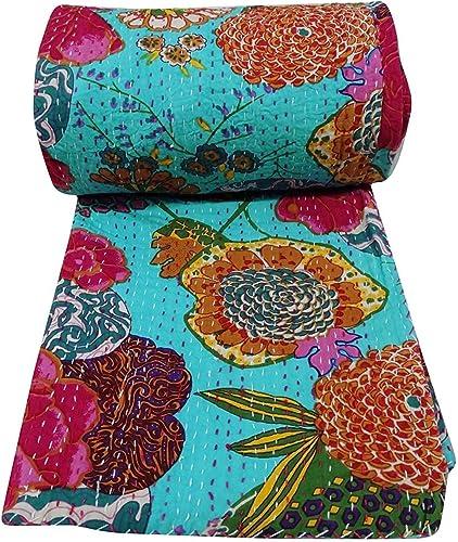 Janki Creation Fruit Bedspreed Pattern Blue Gudri Khanta Cotton Gudri, Khanta Gudri, Queen Size Quilt Bedspreed Floral Fruit Print Khanta Sttich Gudri, Size 90X108
