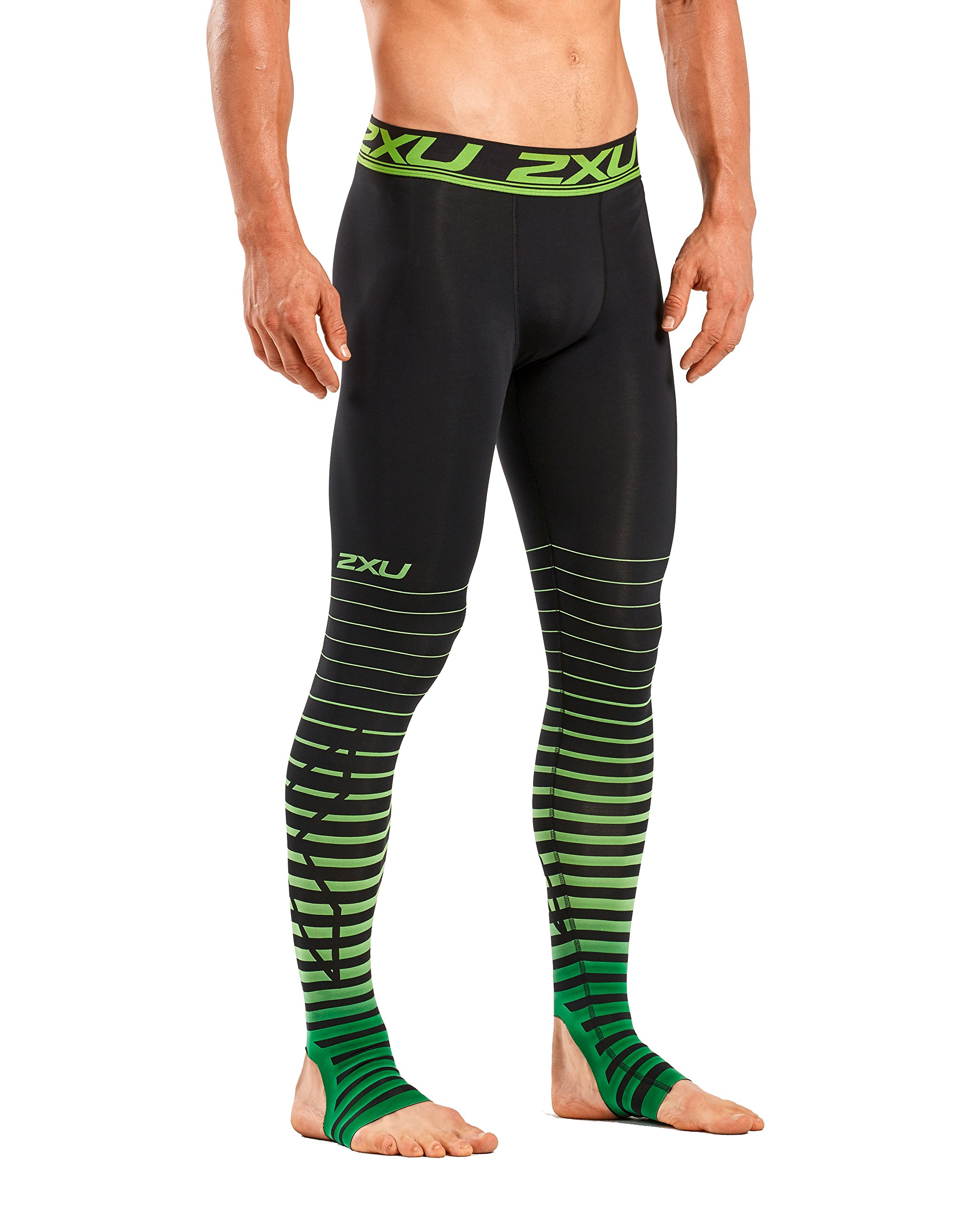2XU Men's Elite Power Recovery Compression Tights, Black/Green, Small/Tall