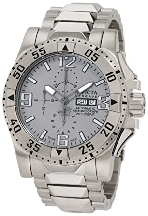 Invicta Mens 0984 Reserve Automatic Chronograph Grey Dial Stainless Steel Watch