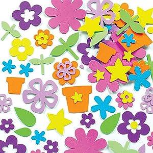 Baker Ross EK324 Self Adhesive Flower Garden Foam Stickers - Pack of 200, for Kids to Decorate Collage, Cards & Craft, 0.8cm-8.5cm , Assorted (EK342)