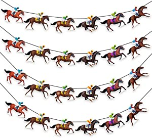 Kentucky Derby Banners Party Supplies Horse Racing Streamers Decorations(4PCS)
