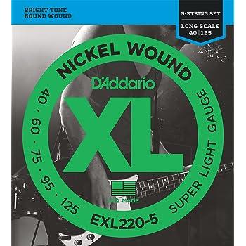 d 39 addario exl220 5 5 string nickel wound bass guitar strings super light 40 125. Black Bedroom Furniture Sets. Home Design Ideas