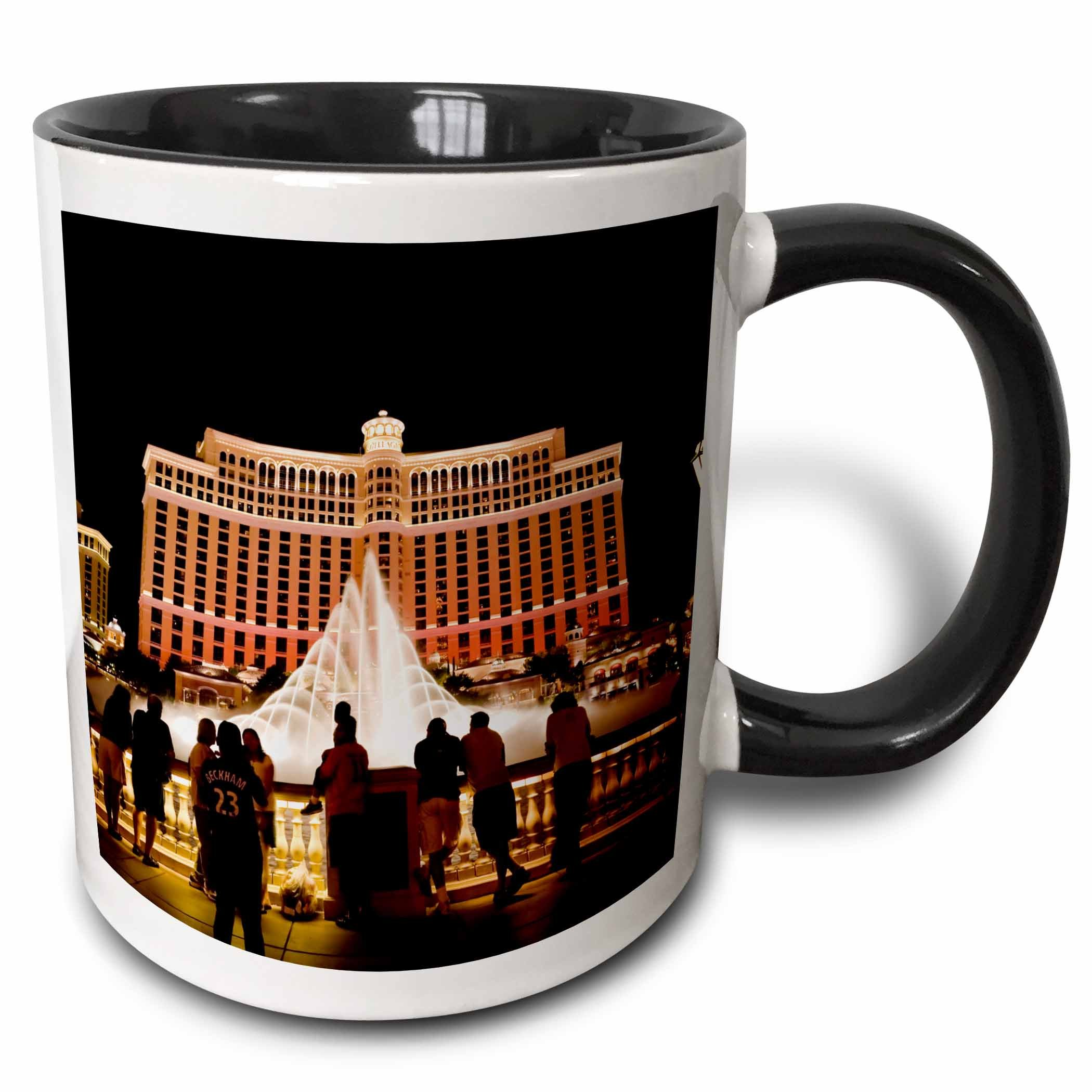 3dRose mug_92182_4 Nevada, Las Vegas, Bellagio Hotel and Casino-Us29 Bbr0061-Brent Bergheim Ceramic, 11oz, Black/White